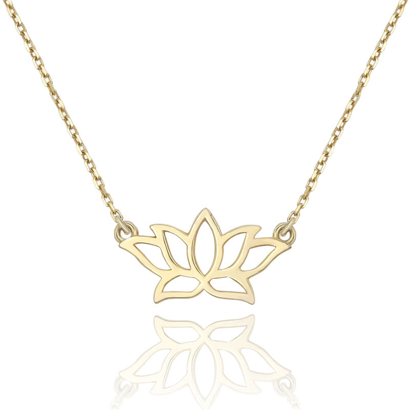 4f7b64e7f49fb3 14k Yellow Gold Plated Tiny Lotus Flower Necklace | Gold Layering ...