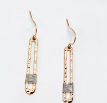 Load image into Gallery viewer, Dainty Antique Gold Wire Dangle Earrings