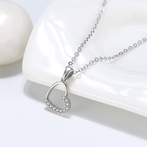 diamond heart necklace heart shaped charm pendant anniversary gift ideas silver chains