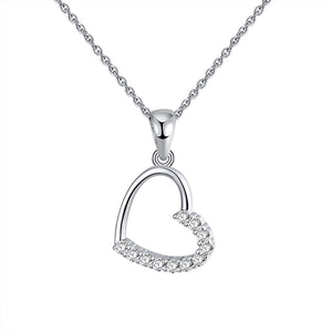 diamond heart necklace heart shaped charm pendant little silver heart charm