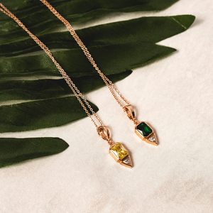 Aria Necklace | Emerald Green and Citrine Yellow