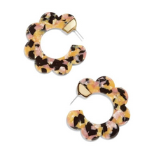 Load image into Gallery viewer, Flower Shape Tortoise Hoop Statement Earrings
