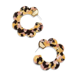 Flower Shape Tortoise Hoop Statement Earrings