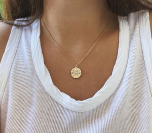 Minimalist Gold Round Coin Pendant Layering Necklace
