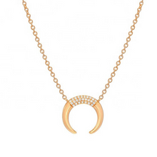 Load image into Gallery viewer, 18k gold crescent moon horn necklace pendant