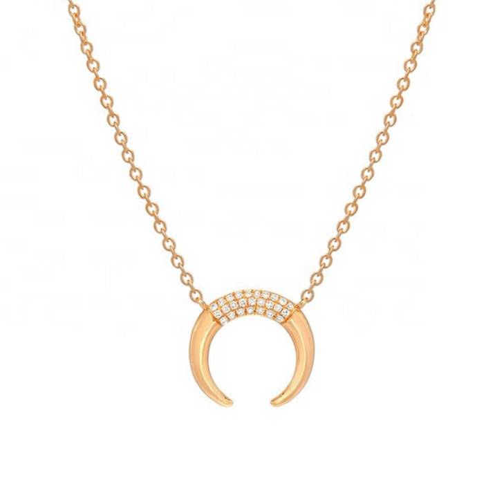 18k gold crescent moon horn necklace pendant