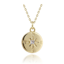 Load image into Gallery viewer, gold layering necklace compass symbol medallion charm