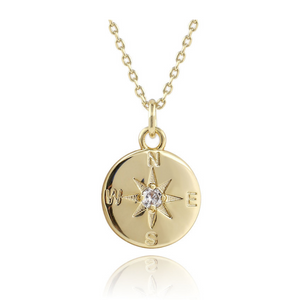 gold layering necklace compass symbol medallion charm