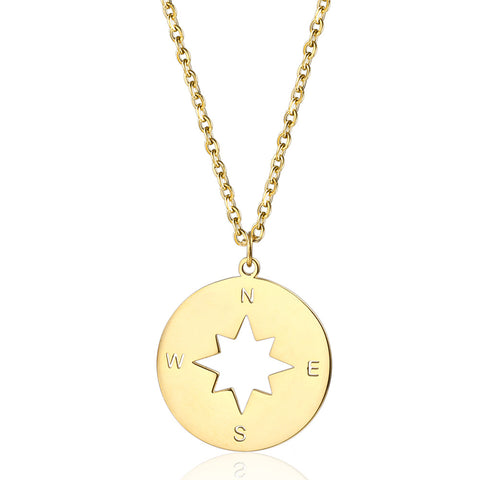 gold compass necklace pendant compass charm gift idea for graducation