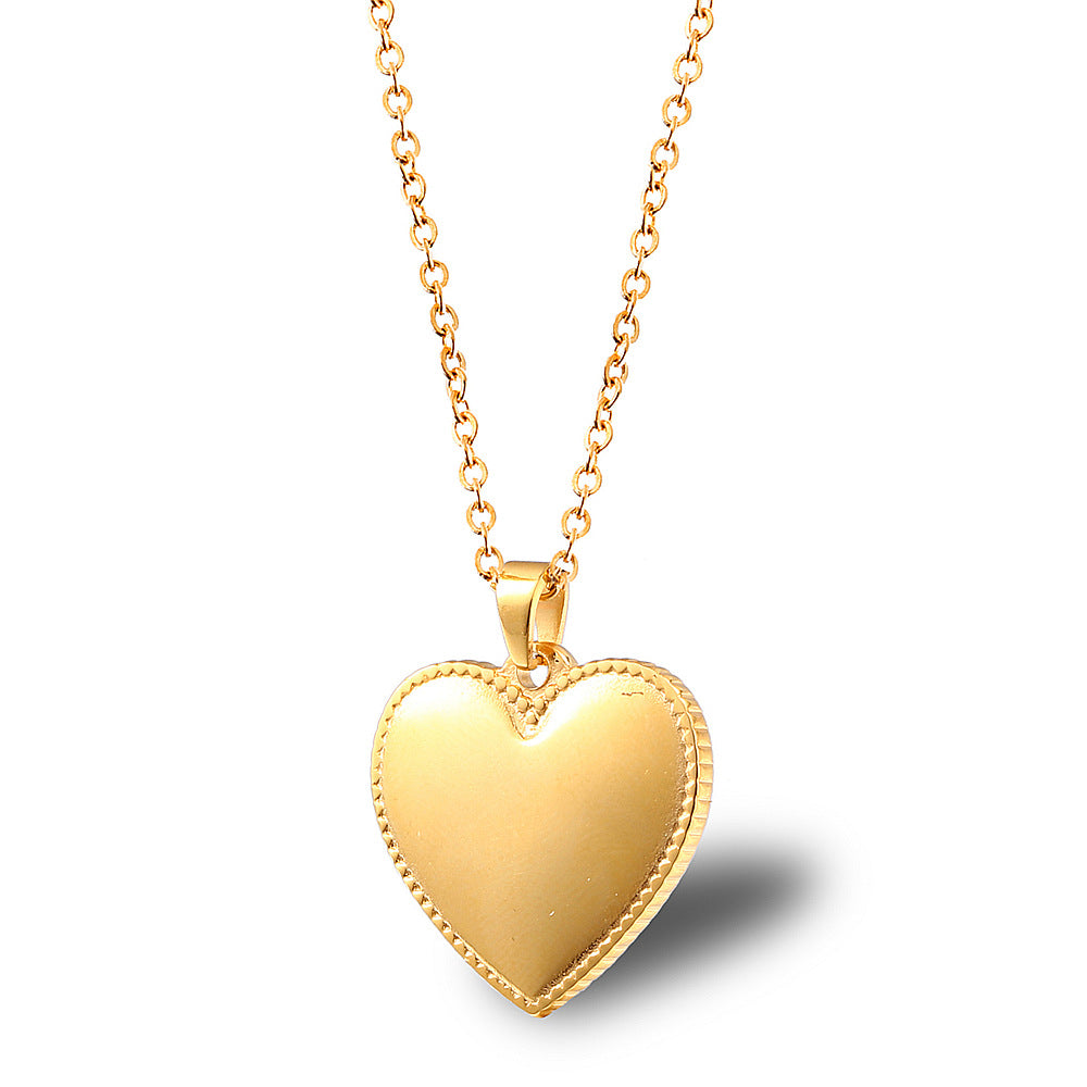 puffed heart gold necklace pendant charm signature love necklace