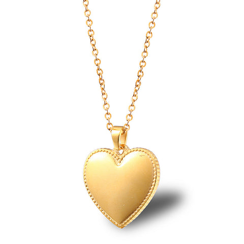 gold heart shaped necklace puffed gold charm locklet gold 18k heart jewelry