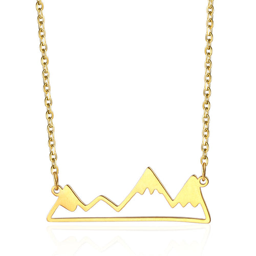 gold mountain shaped jewelry necklace charm gift ideas for outdoors lovers