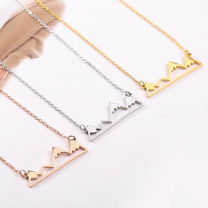 rose gold mountain shaped jewelry necklace charm gift ideas for nature lovers