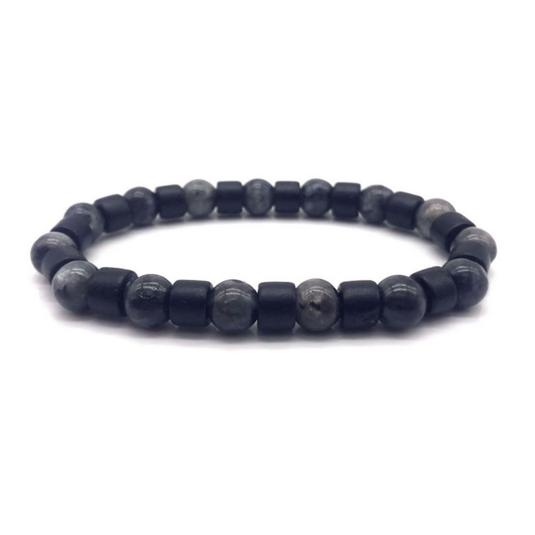 Kyro | Men's Black Beaded Gray Natural Stone Mala Bracelet