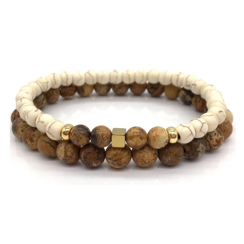 Men's Double Beaded Jasper Stone Mala Bracelet