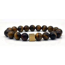 Load image into Gallery viewer, Men's Black Bead Natural Stone Tiger Eye Mala Bracelet