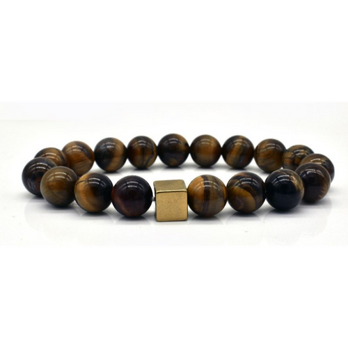 Men's Black Bead Natural Stone Tiger Eye Mala Bracelet