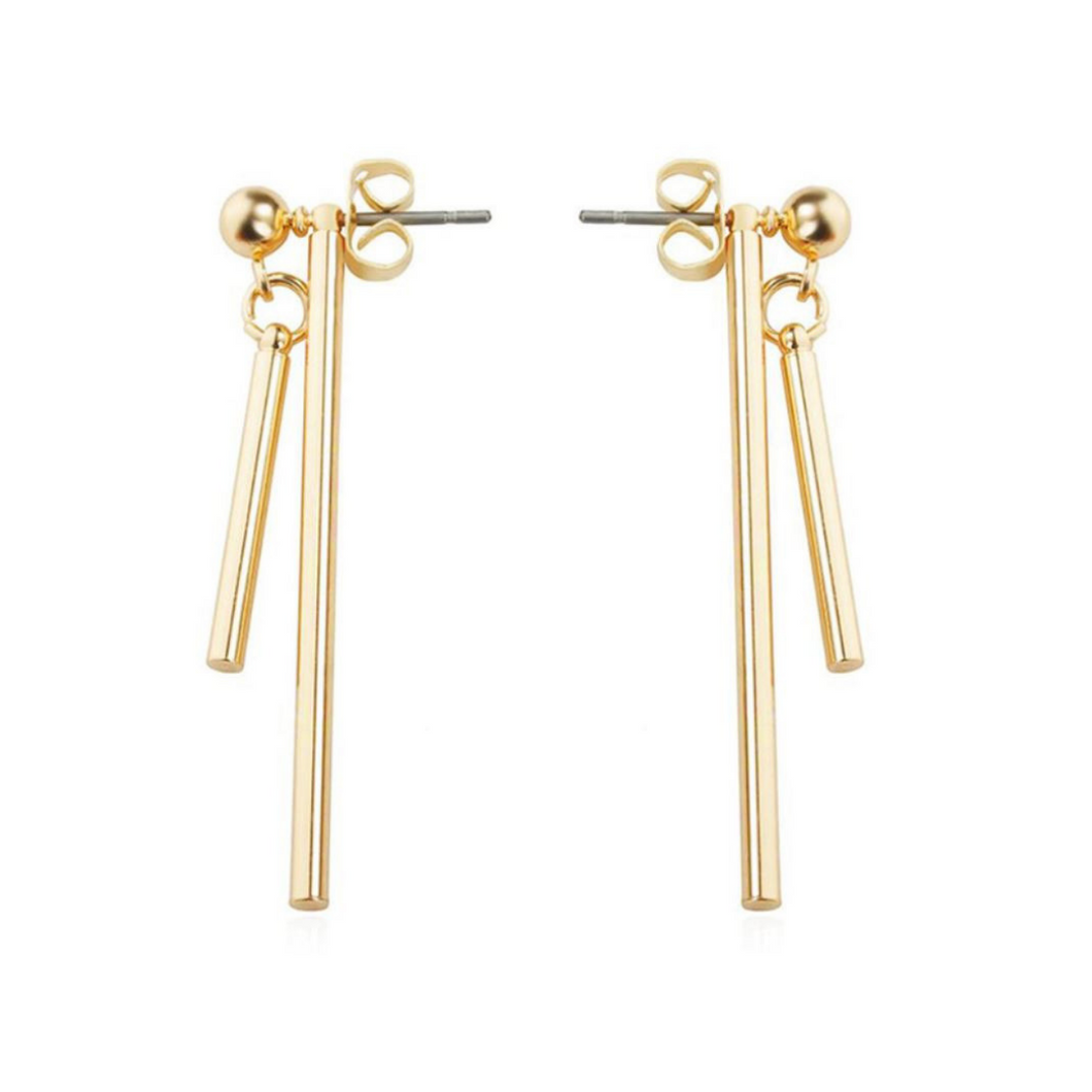 Double-Sided Simple Gold Edgy Minimalist Earrings for Women