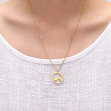 Load image into Gallery viewer, gold mountain shaped pendant necklace gift ideas for outdoor lovers