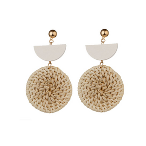 Natural Rattan Wood Earrings for Summer