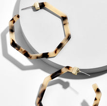 Load image into Gallery viewer, Animal Print Geometric Resin Hoop Earrings Leopard