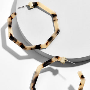 Animal Print Geometric Resin Hoop Earrings Leopard