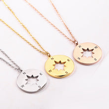 Load image into Gallery viewer, rose gold compass necklace charm jewelry necklace meaning of compass