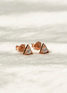 gold triangle shape diamond stud earrings for women jewelry