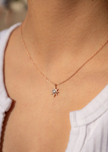 North Star Gold Charm Necklace 18k Gold Pendant Mini Star Diamond