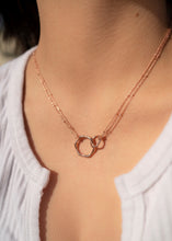 Load image into Gallery viewer, gold interlocking eternity infinity necklace charm 18k circles charm