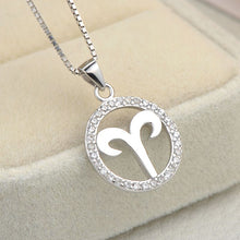 Load image into Gallery viewer, silver aries zodiac sign necklace astrology charm