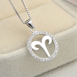 silver aries zodiac sign necklace astrology charm