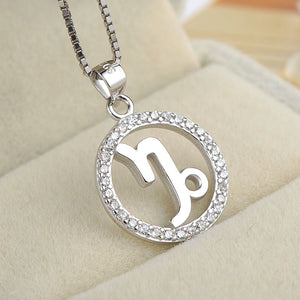 silver capricorn zodiac sign necklace astrology charm