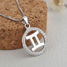 Load image into Gallery viewer, silver gemini zodiac sign necklace astrology charm