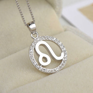 silver leo zodiac sign necklace astrology charm