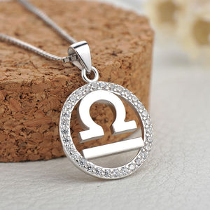 silver libra zodiac sign necklace charm