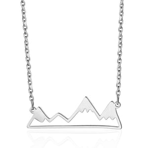 silver mountain shaped jewelry necklace charm gift ideas for nature lovers