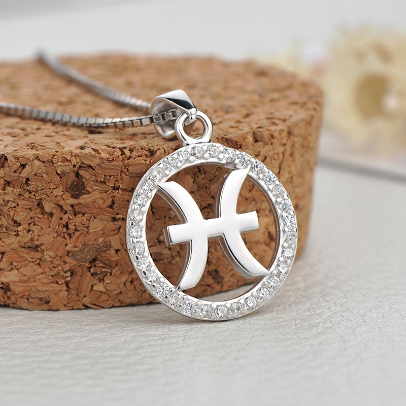 silver pisces zodiac sign necklace astrology charm