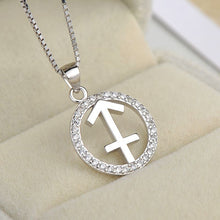 Load image into Gallery viewer, silver sagittarius zodiac sign necklace astrology charm