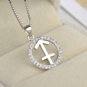 silver sagittarius zodiac sign necklace astrology charm