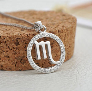 silver scorpio zodiac sign necklace charm