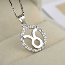 Load image into Gallery viewer, silver taurus zodiac sign necklace astrology charm