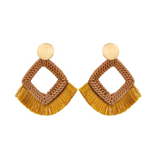 Load image into Gallery viewer, Sun-Drenched Raffia Wood Fringe Yellow Summer Statement Earrings