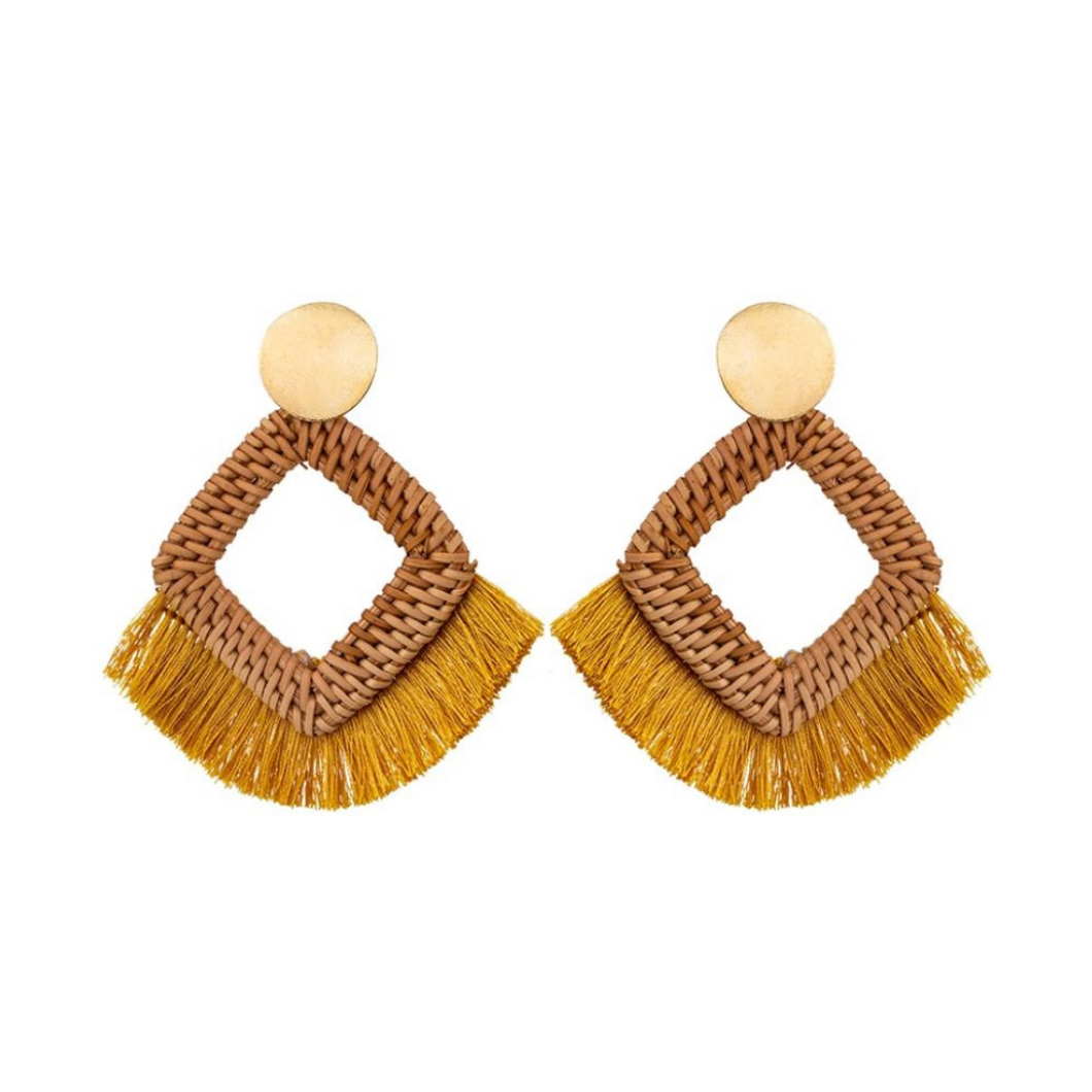 Sun-Drenched Raffia Wood Fringe Yellow Summer Statement Earrings