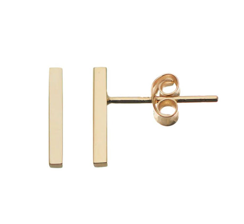 18k Gold Plated Stainless Steel Bar Stud Earrings