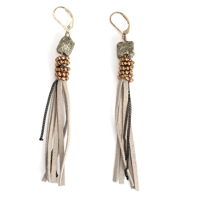 Trendy Grey Suede Leather Modern Tassel Statement Earrings