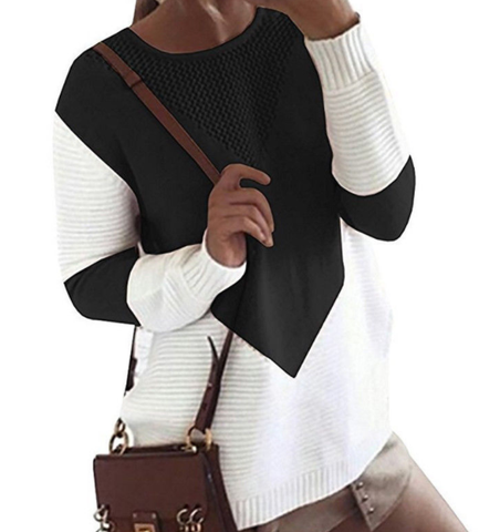 Long Sleeve 2 Colour Knitted Jumper