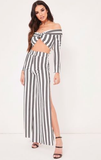 Stripe Side Split Leg Two Piece Set