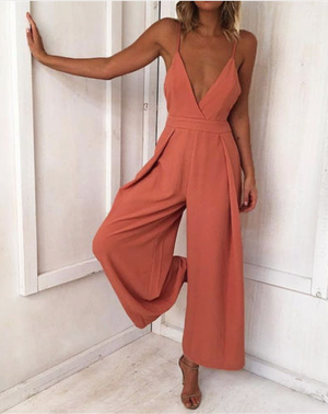 Open Back Tie Jumpsuit