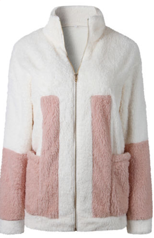 Pink & White Fluffy Jacket